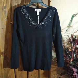 Sweaters - Oliver by escio Black Embellished Sweater